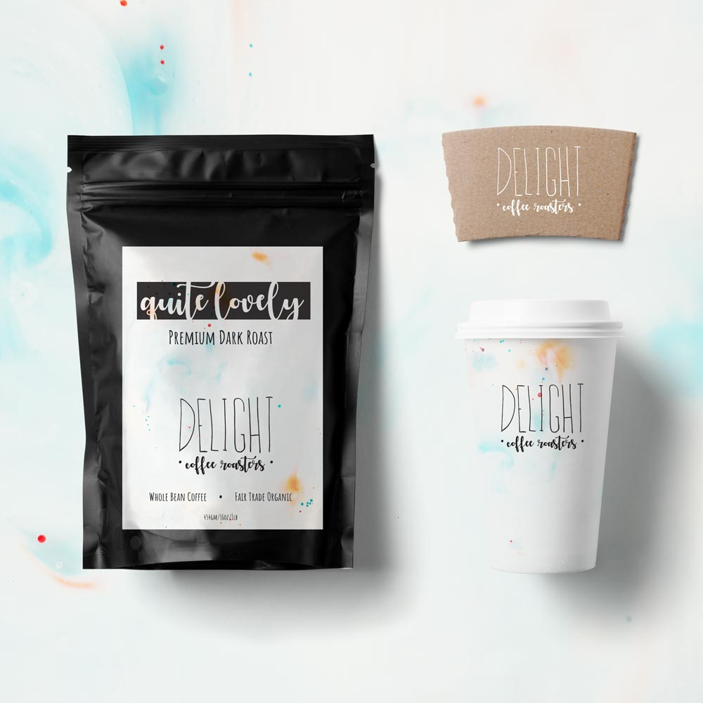 Delight Coffee Roasters Bag and Cup